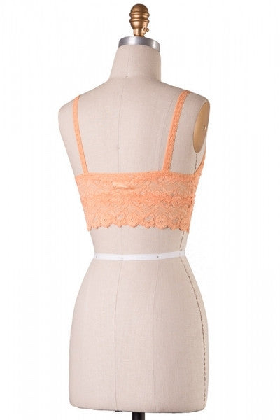 Wide Band Lace Bralette - Peach