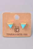 Triangle Gold and Stone Stud Earrings - Black, White, Turquoise or Navy Blue