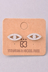 Evil Eye Jewel Stud Earrings - Gold, Silver or Rose Gold