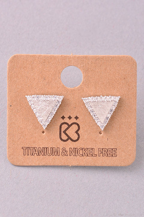 Triangular Jewel Outline Stud Earrings - Gold, Silver or Rose Gold