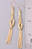 Metallic Knot Tassel Earrings - Gold or Silver