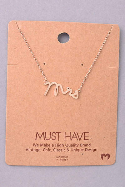 Dainty Mrs. Pendant Necklace - Gold, Silver or Rose Gold