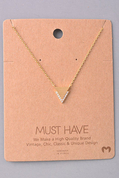 Dainty Triangular Jewel Pendant Necklace - Gold or Silver