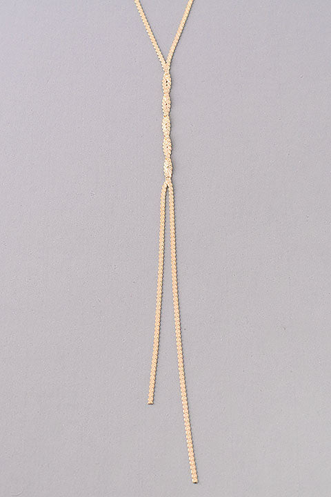 Delicate Long Twisted Textured Chain Necklace - Gold or Silver