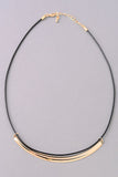 Black Cord and Metal Crescent Choker Necklace - Gold or Silver
