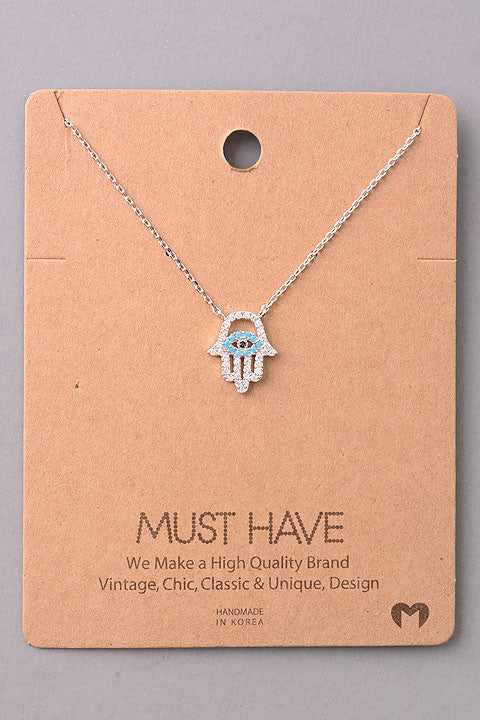 Dainty Bejeweled Hamsa Pendant Necklace - Gold, Silver or Rose Gold