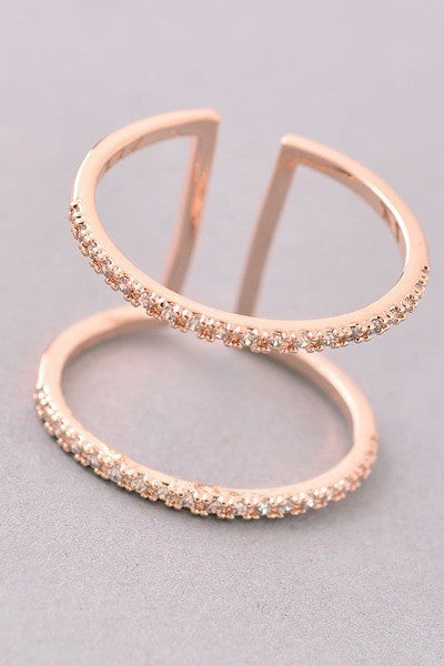Double Rhinestone Bars Ring - Gold, Silver or Rose Gold