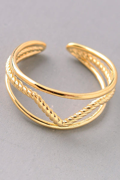 Center V-Shaped Ring - Gold or Silver