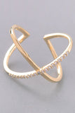 Rhinestone Trim X Ring - Gold, Rose Gold or Silver