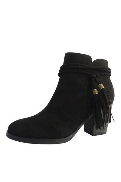 """Avenge"" Braided Wrap Around Tassel Ties Chunky Heel Faux Suede Booties - Black"