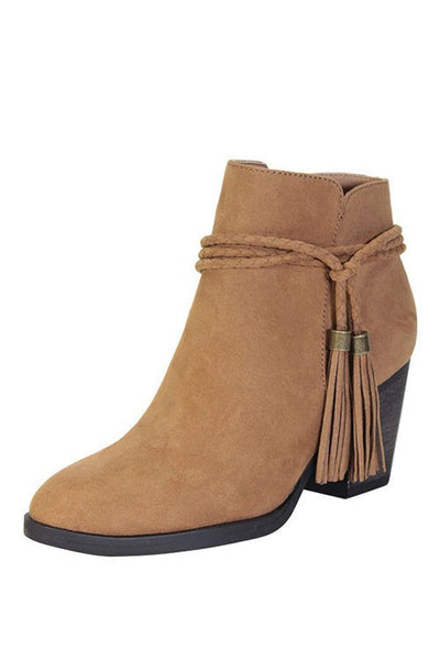 """Avenge"" Braided Wrap Around Tassel Ties Chunky Heel Faux Suede Booties - Camel"