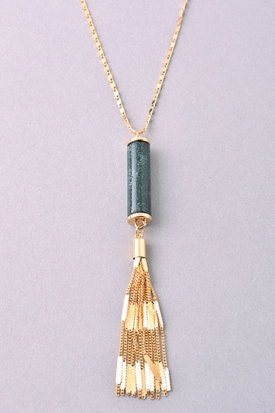 Barrel Stone and Tassel Long Necklace - Rose, Green or Blue