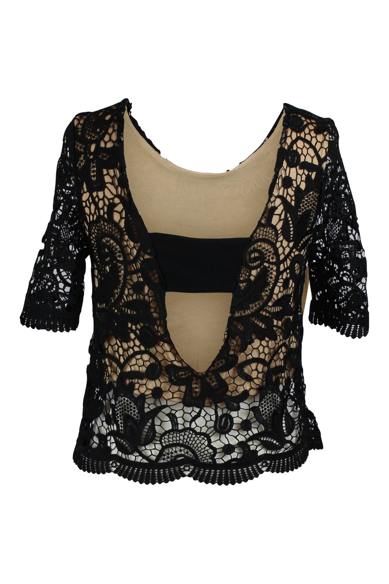 Cocktail Chic Lace Overlay Boxy Top - Black