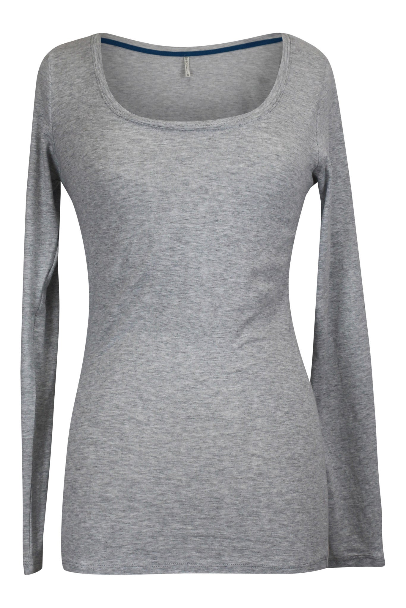 Basic Long Sleeve Scoop Neck Jersey Top - Gray