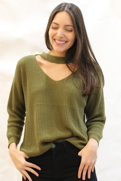 Thick Knit Choker Neckline Sweater - Olive