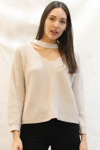 Thick Knit Choker Neckline Sweater - Blush