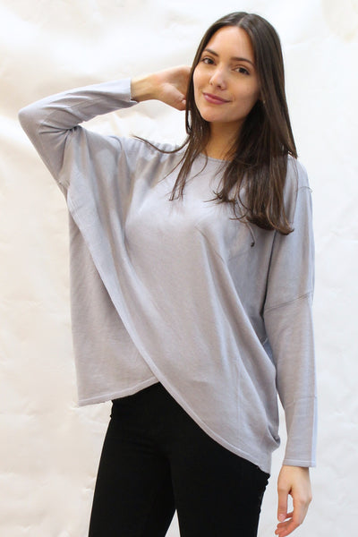 Tulip Hem Patch Pocket Tunic Sweater - Light Gray