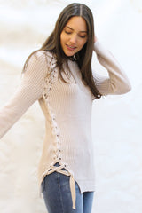 Lace Up Sides Ribbed Tunic Sweater - Blush
