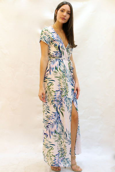 Short Sleeve Palm Print Wrap Maxi Dress - Pink/Multi