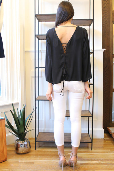 Wide Sleeve V Neck Blouse with Lace Up Back - Black