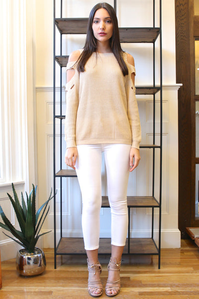 Slash Cut Outs Shoulders Long Sleeve Sweater - Taupe