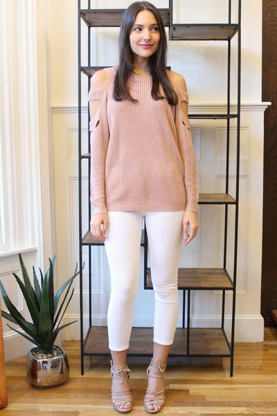 Slash Cut Out Shoulders Long Sleeve Sweater - Blush