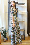 Short Sleeve Deep V Neck Floral Print Wide Leg Jumpsuit - Navy/Multi