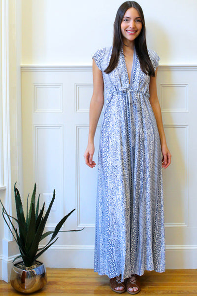 Capri Paisley Maxi Dress - Blue/White