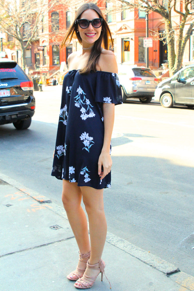 Meadow Off the Shoulder Floral Dress - Navy/Multi