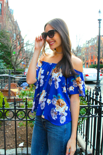 Lyla Off the Shoulder Floral Blouse - Royal/Multi