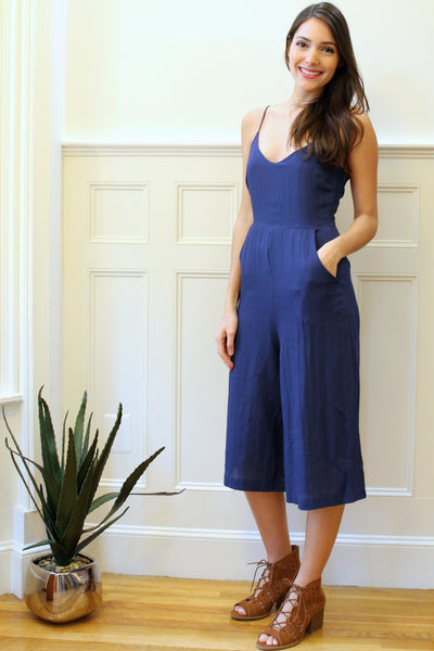 Avery Linen Culottes Jumpsuit - Navy Blue