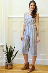 Hampton Striped Culottes Jumpsuit - Blue/Multi