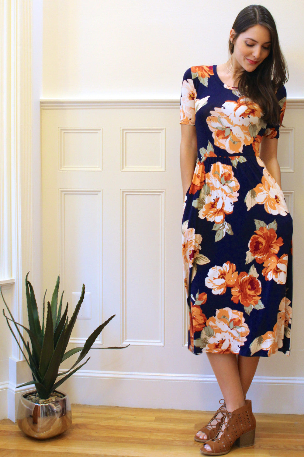 Cora Floral Midi Dress - Navy/Multi
