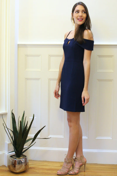 Cosette Open Shoulder Dress - Navy Blue