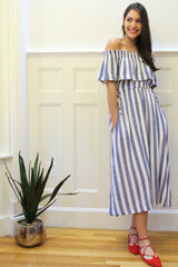 Cassie Striped Midi Dress - Navy/White