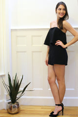 One Night Only Strapless Romper - Black
