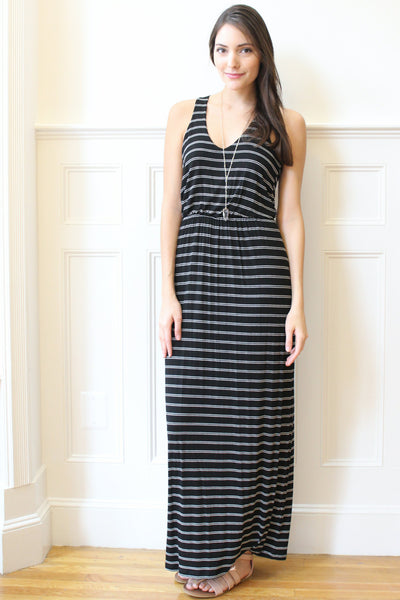 Courtney Striped Jersey Maxi Dress - Black/White