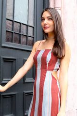 Piper Striped Cut Out Back Midi Dress - Red/Multi