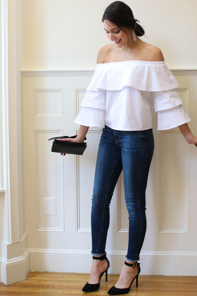 Blake Off the Shoulder Layer Blouse - White
