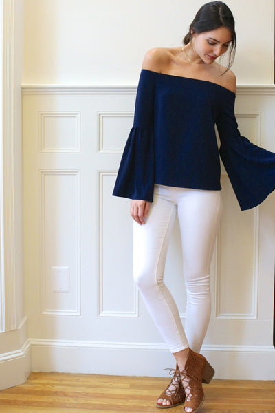 Adeline Off the Shoulder Bell Sleeves Blouse - Navy Blue