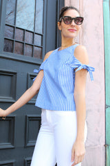 Nantucket Bound Striped Tie Shoulders Blouse - Blue/White