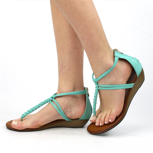 """Winda"" T-Strap Braid Low Wedge Sandals - Mint"