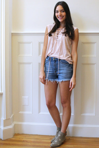 Rebel Distressed Lace Up Tank - Blush