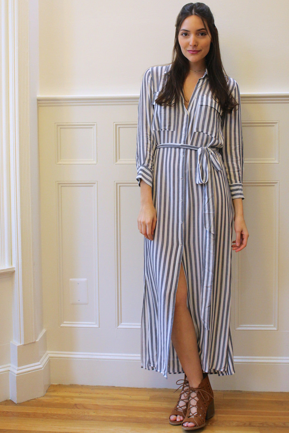 Cyprus Striped Midi Shirt Dress - Ivory/Gray