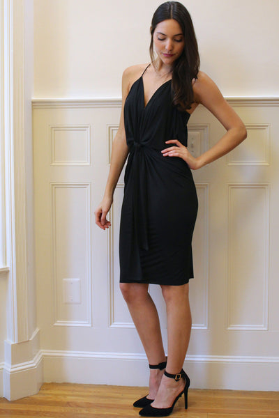 Stella Draped Party Dress - Black