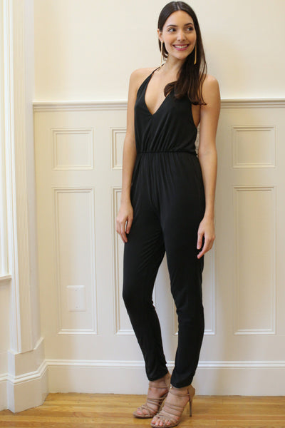 Vega Halter Jersey Jumpsuit - Charcoal Gray