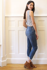 Hannah Striped Low Back Tank - Ivory/Navy