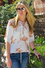 Desert Rose Floral Lace Up Blouse - Ivory/Multi