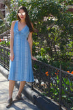 Malta Tie Front Midi Dress - Blue/Ivory