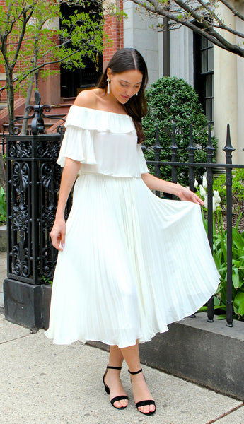 Chiffon Pleated Ankle Length Skirt - Ivory